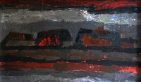 Landschap Boederij Grijs/Rood  60x100cm